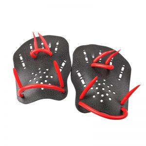 triathletes swim paddles