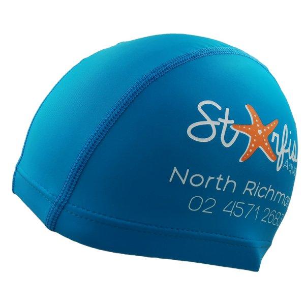 blue lycra swim cap