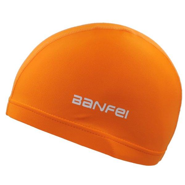 orange lycra swim cap