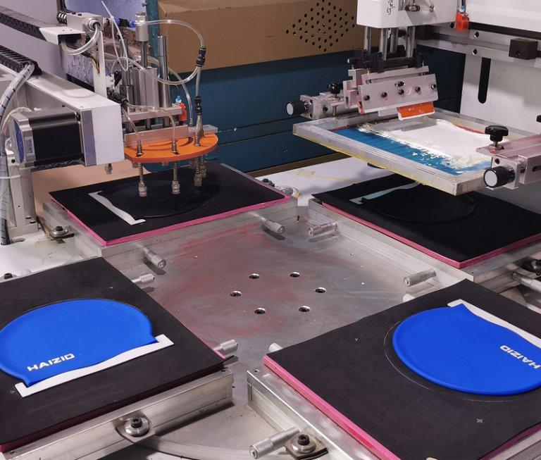 silkscreen print swim cap